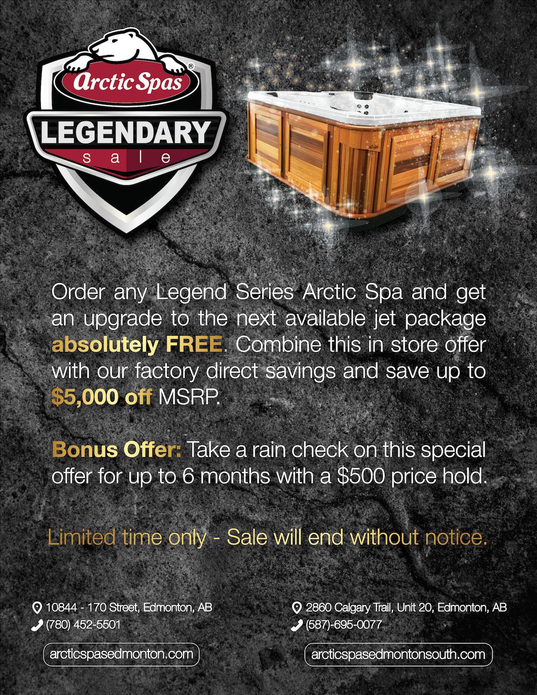 arctic spas – legendary sale!